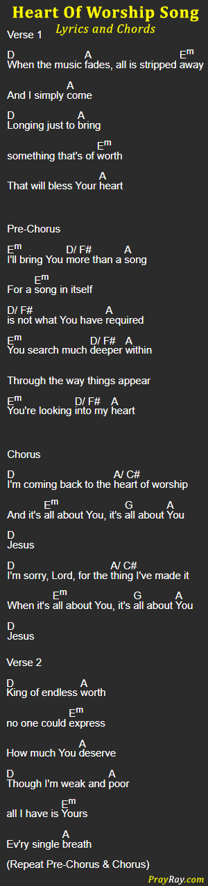HEART OF WORSHIP SONG, Lyrics and Chords by Matt Redmann