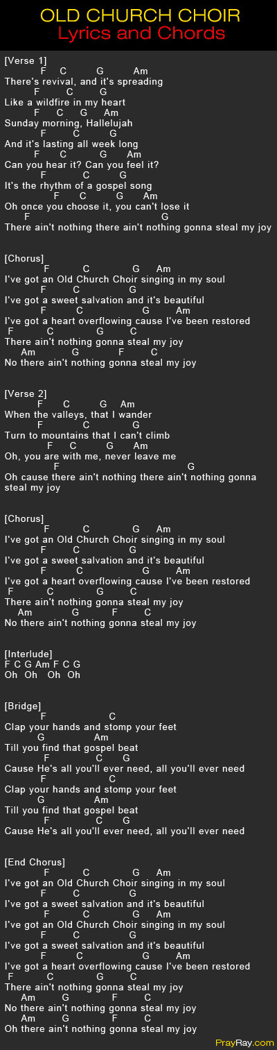 Lyric gospel lyrics.com : OLD CHURCH CHOIR - ZACH WILLIAMS SONG. Lyrics and Chords