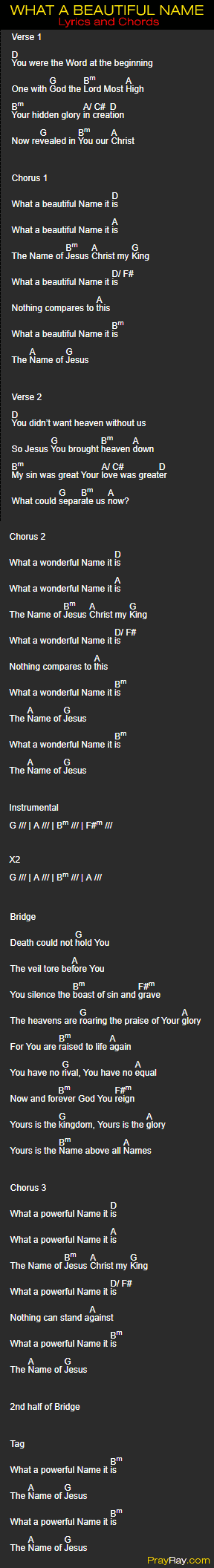 HILLSONG WORSHIP SONG - WHAT A BEAUTIFUL NAME. Chords, Lyrics