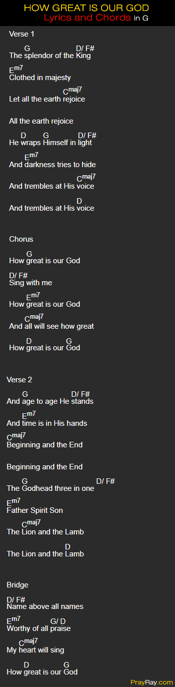 How great is our God chords in g