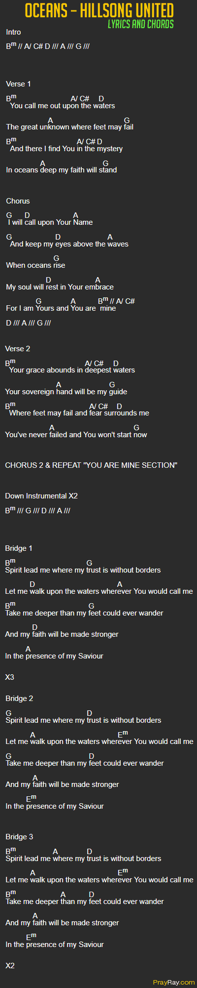 Oceans hillsong united chords lyrics